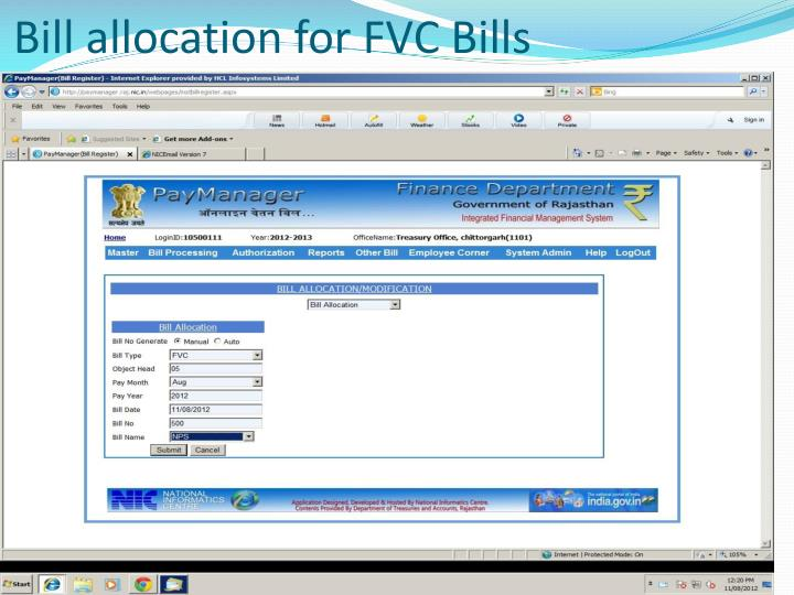 Bill allocation for fvc bills