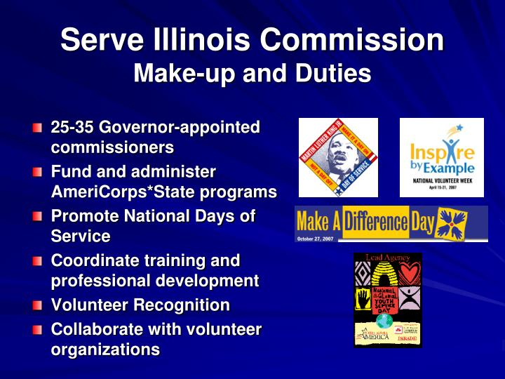 Serve illinois commission make up and duties
