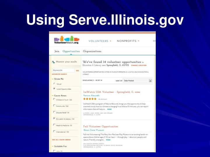 Using Serve.Illinois.gov