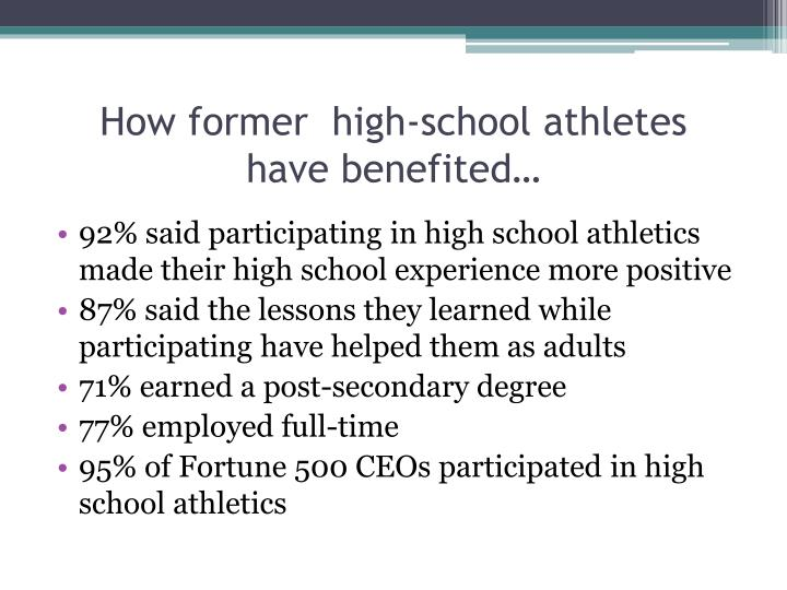 How former  high-school athletes