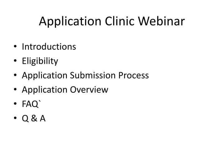 Application Clinic Webinar