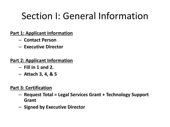Section I: General Information
