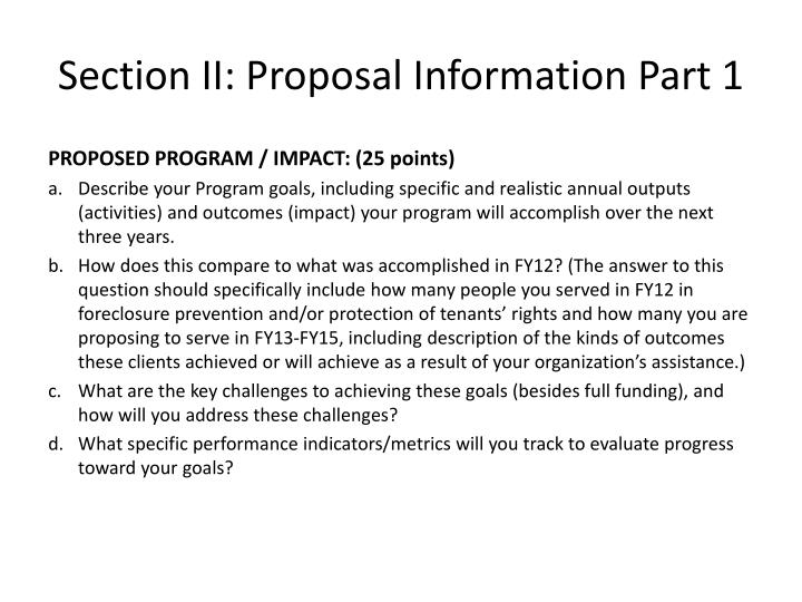 Section II: Proposal Information Part 1