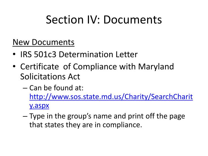 Section IV: Documents