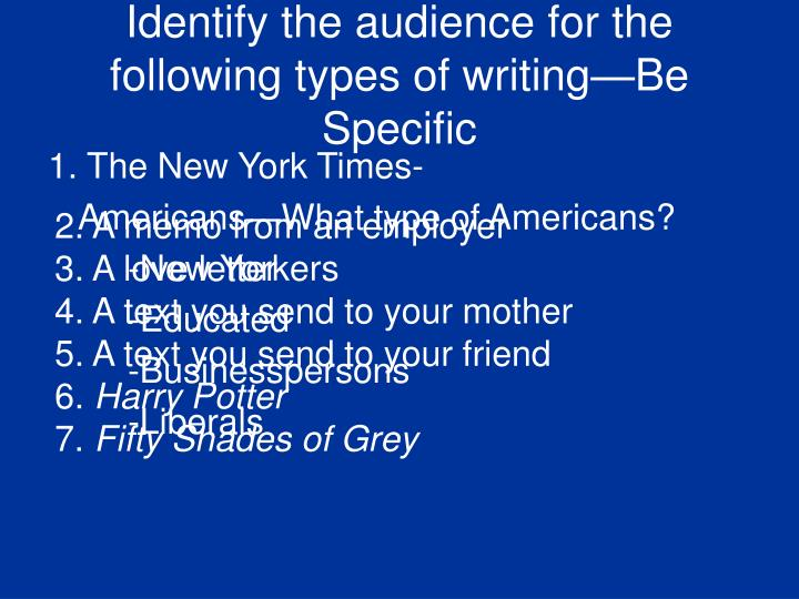 Identify the audience for the following types of writing—Be Specific