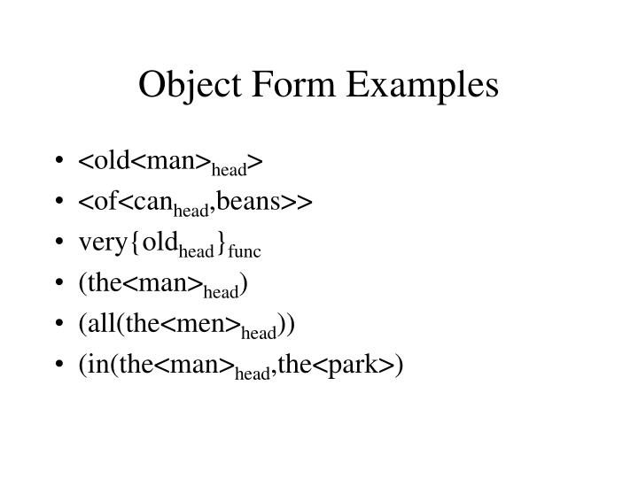 Object Form Examples
