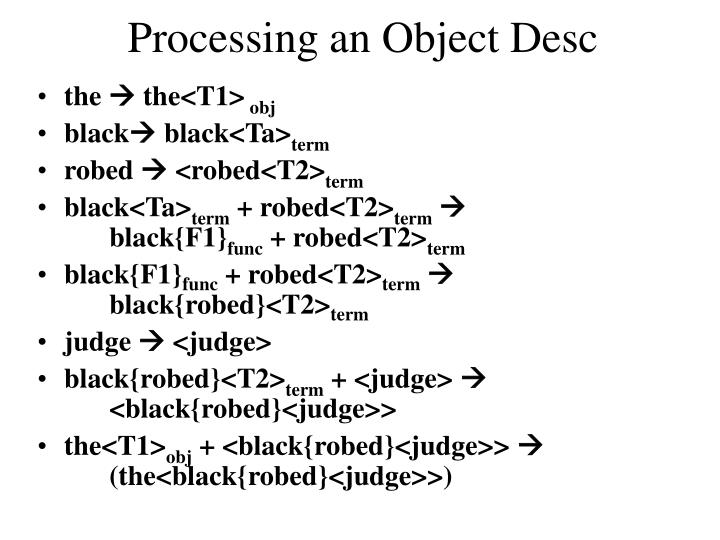 Processing an Object Desc