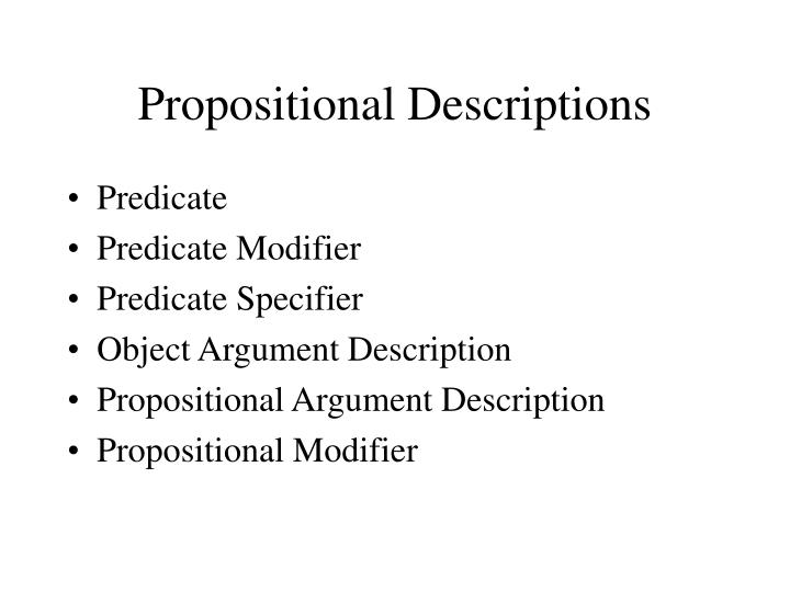 Propositional Descriptions
