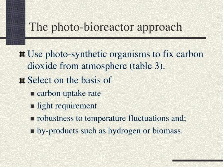The photo-bioreactor approach