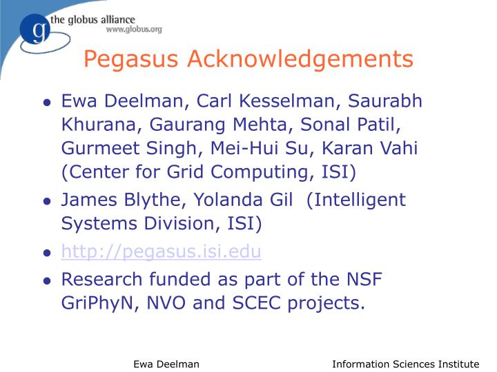 Pegasus acknowledgements