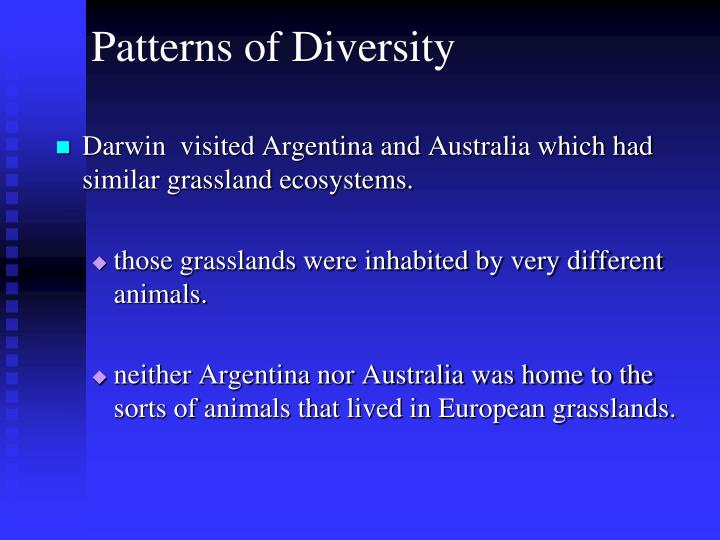 Darwin  visited Argentina and Australia which had similar grassland ecosystems.