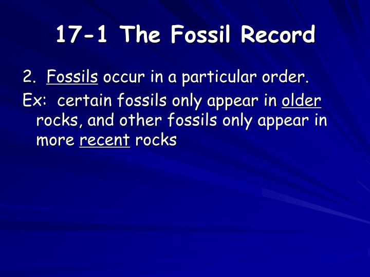 17-1 The Fossil Record