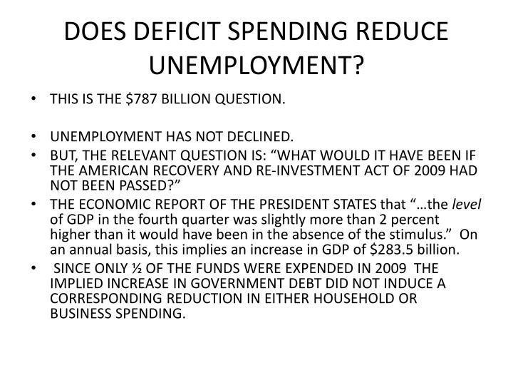 DOES DEFICIT SPENDING REDUCE UNEMPLOYMENT?