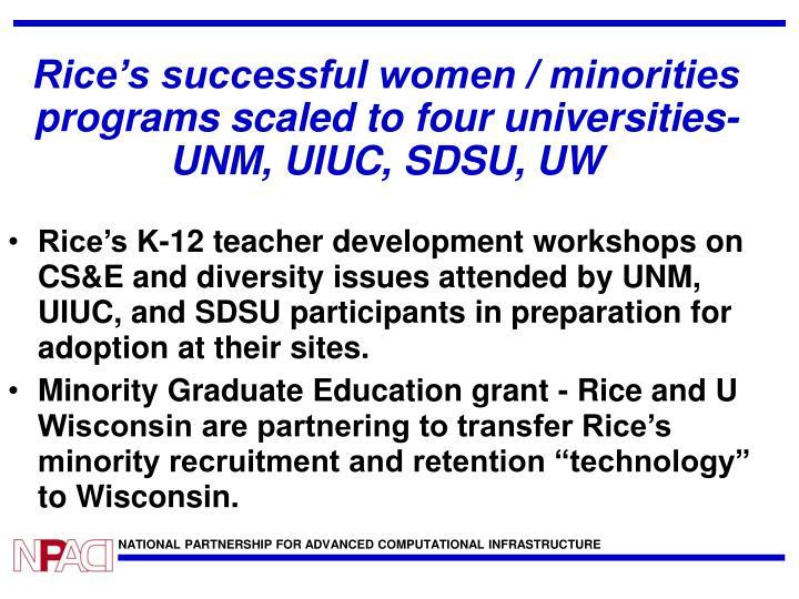 Rice's successful women / minorities programs scaled to four universities-UNM, UIUC, SDSU, UW