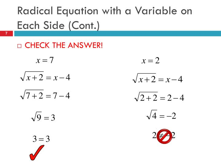 Radical Equation with a Variable on Each Side (Cont.)