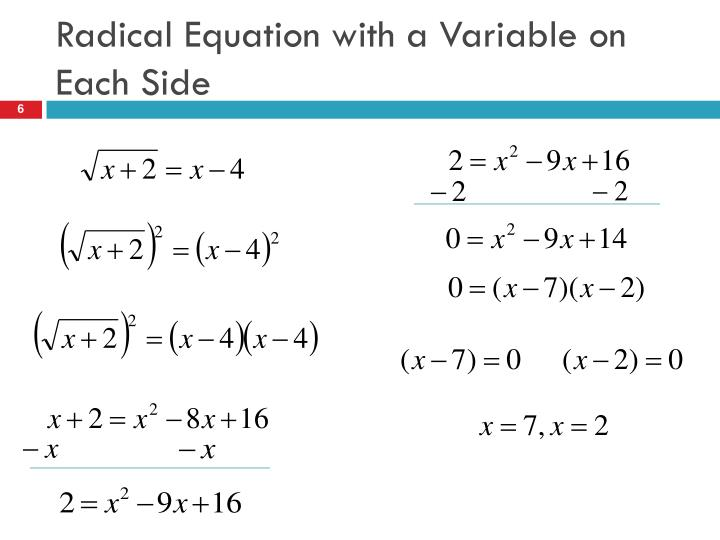 Radical Equation with a Variable on Each Side