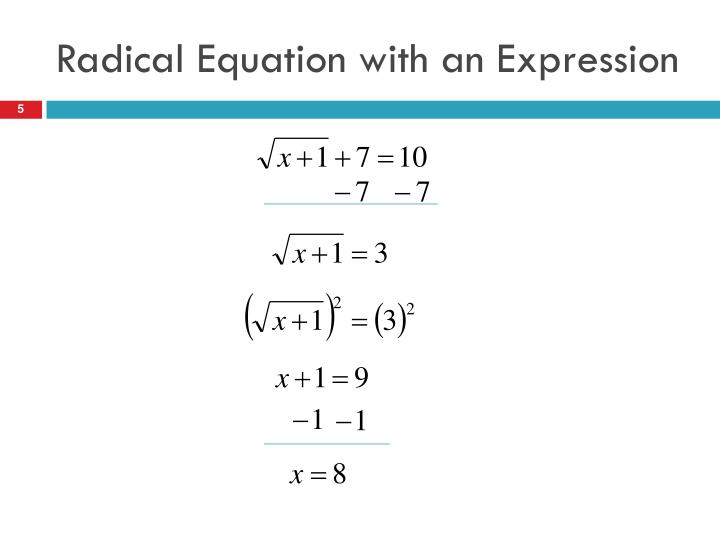 Radical Equation with an Expression