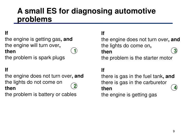 A small ES for diagnosing automotive problems