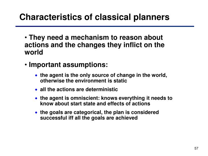 Characteristics of classical planners