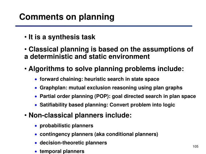 Comments on planning