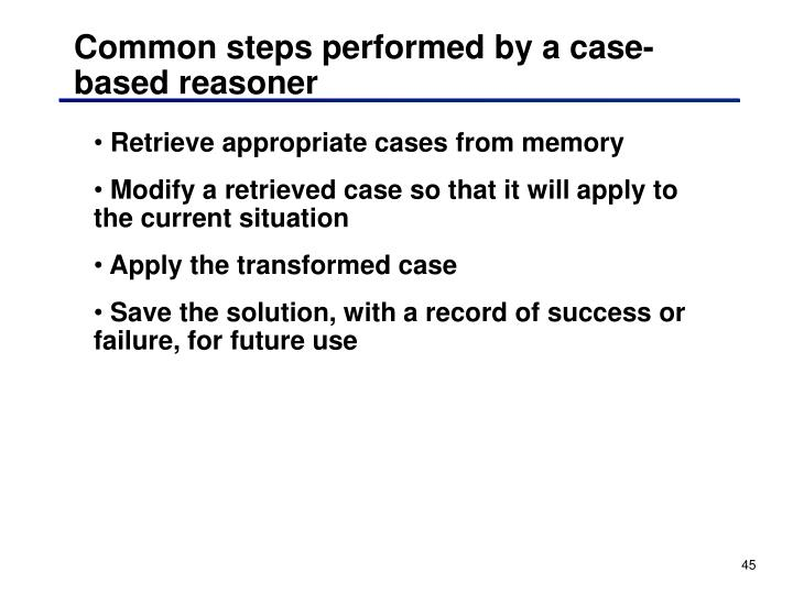 Common steps performed by a case-based reasoner
