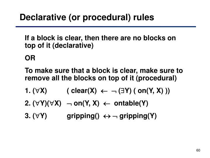 Declarative (or procedural) rules