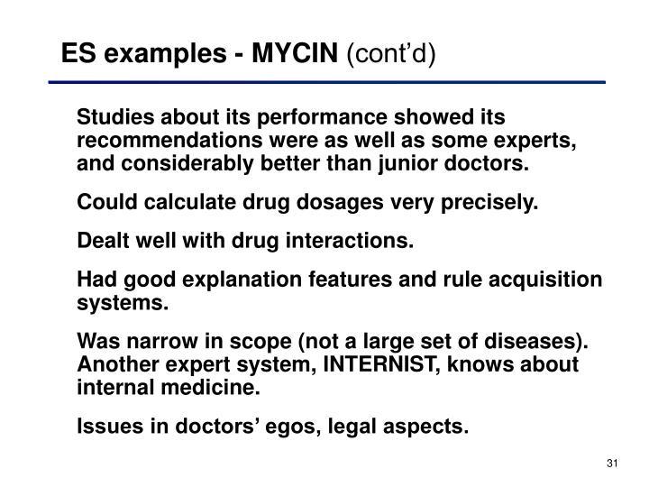 ES examples - MYCIN