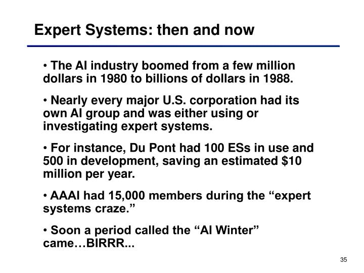 Expert Systems: then and now