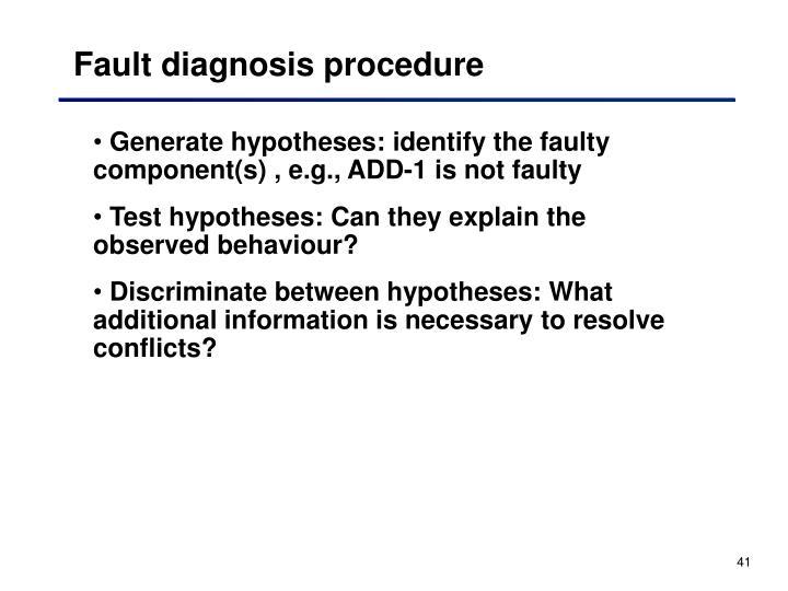 Fault diagnosis procedure