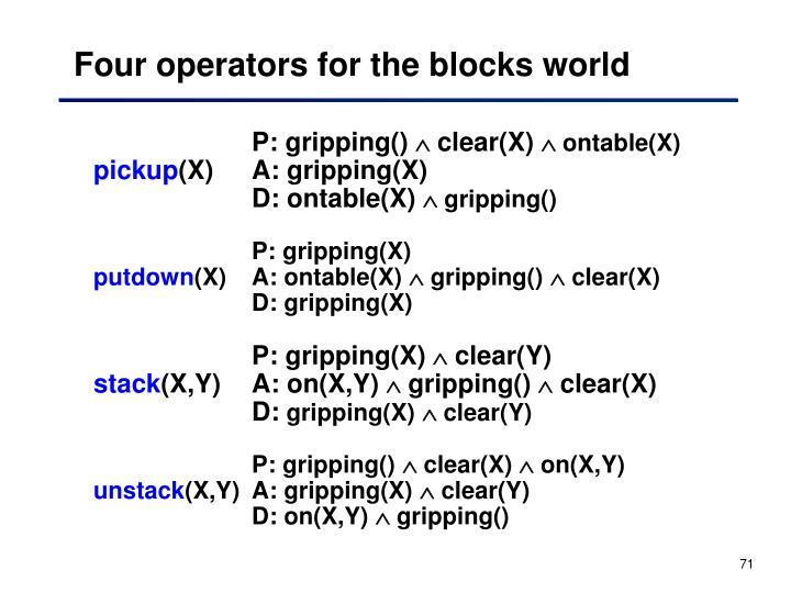 Four operators for the blocks world