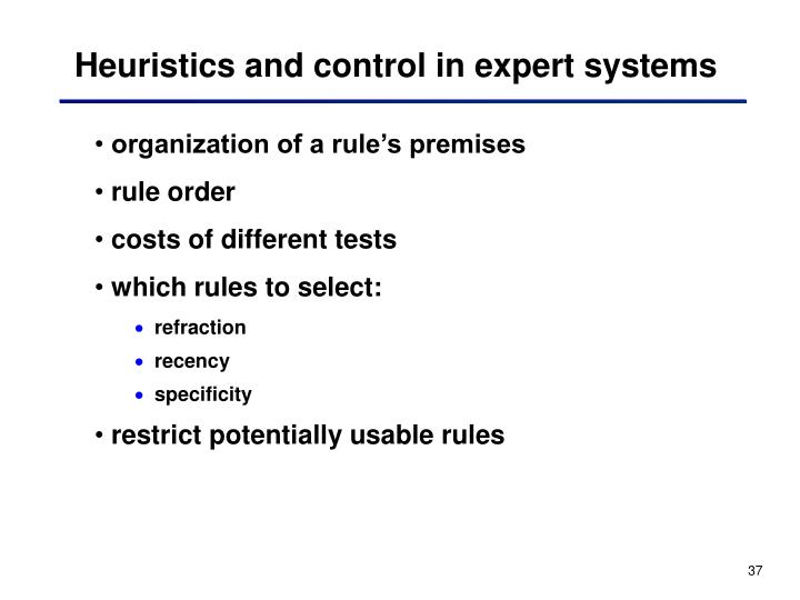 Heuristics and control in expert systems