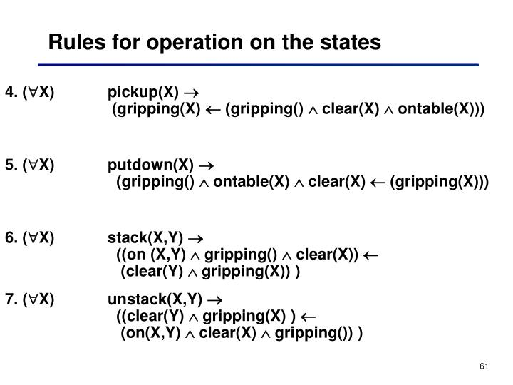 Rules for operation on the states