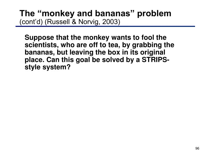 """The """"monkey and bananas"""" problem"""