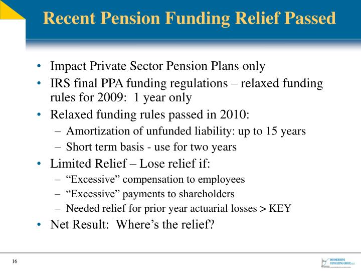 Recent Pension Funding Relief Passed