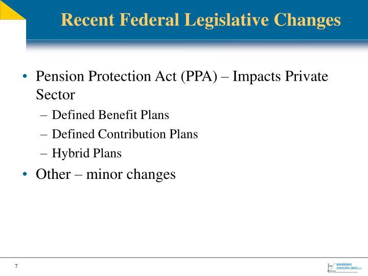 Recent Federal Legislative Changes