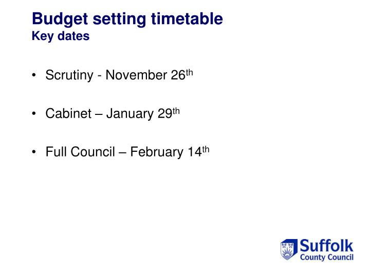Budget setting timetable