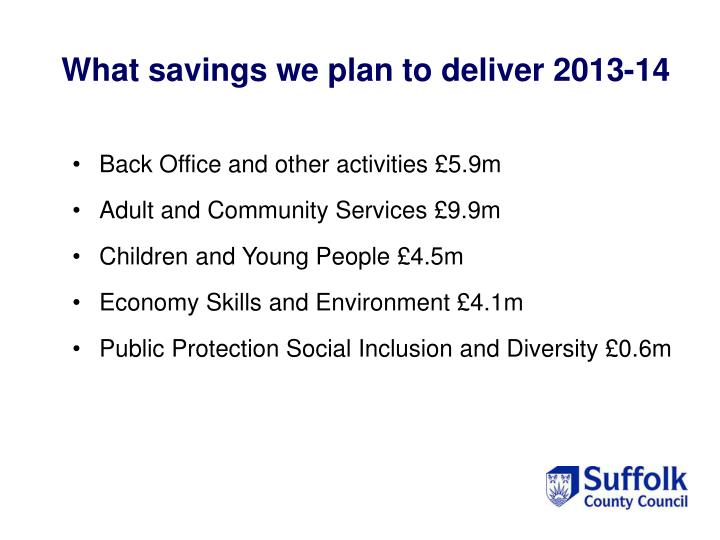 What savings we plan to deliver 2013-14