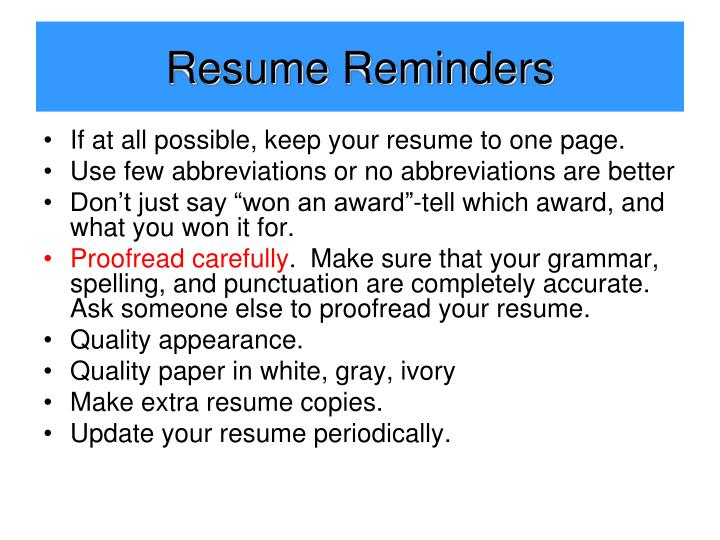 Resume Reminders