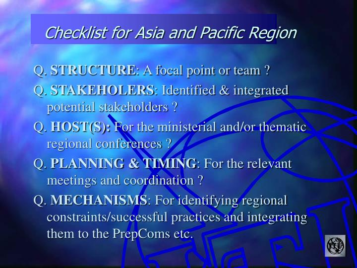 Checklist for Asia and Pacific Region