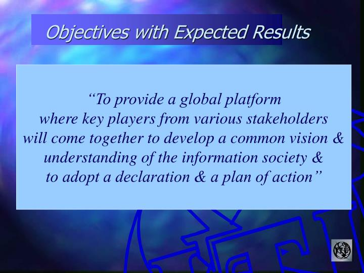 Objectives with Expected Results