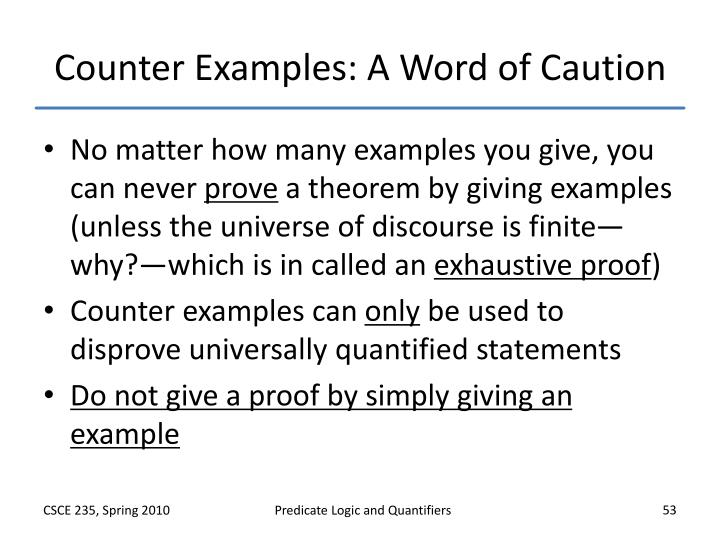Counter Examples: A Word of Caution