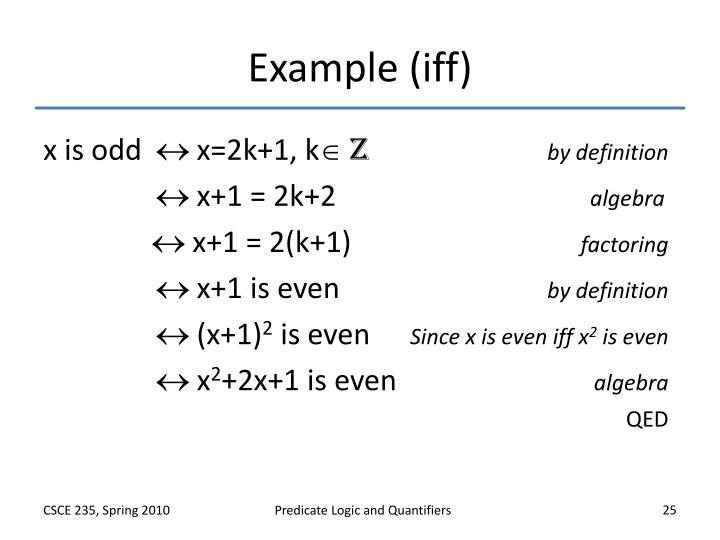 Example (iff)