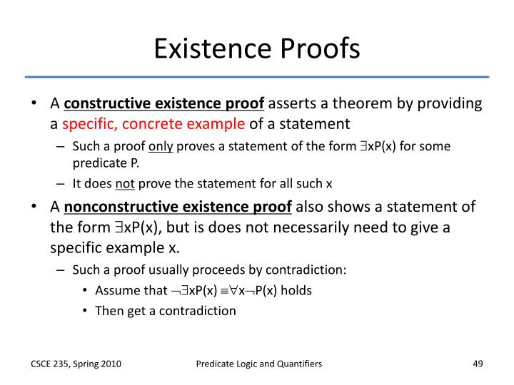 Existence Proofs