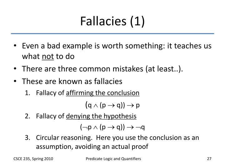 Fallacies (1)