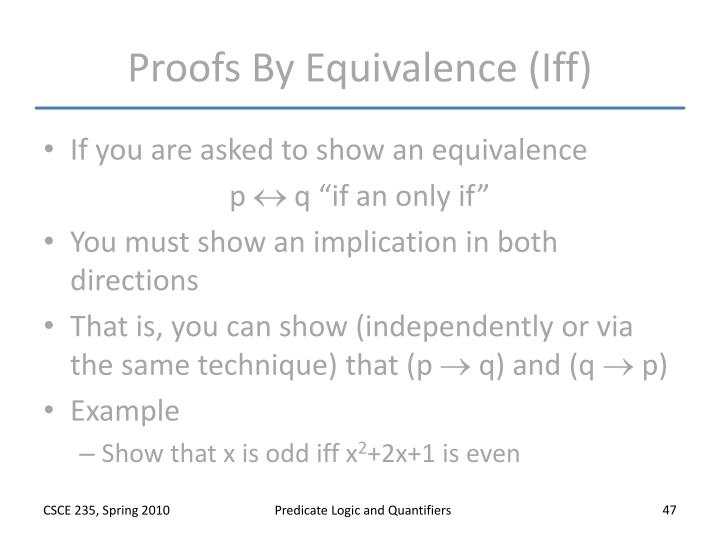 Proofs By Equivalence (Iff)