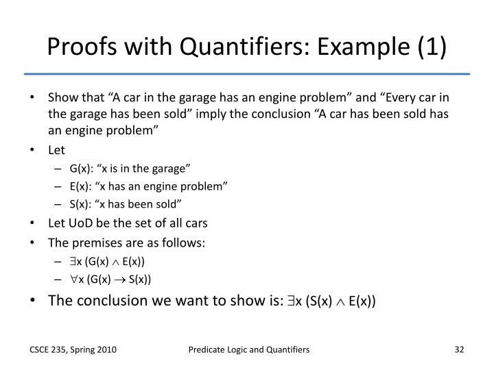 Proofs with Quantifiers: Example (1)