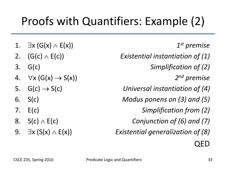 Proofs with Quantifiers: Example (2)