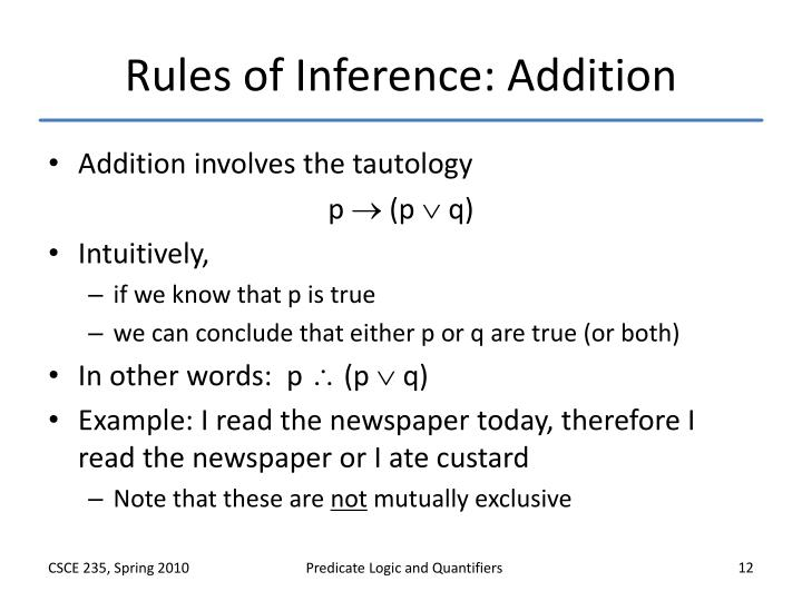 Rules of Inference: Addition