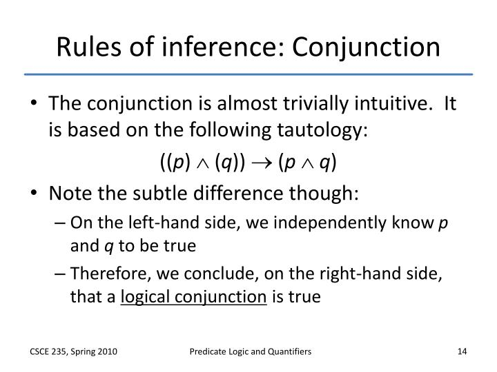 Rules of inference: Conjunction