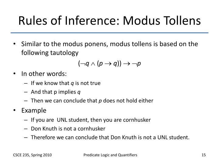 Rules of Inference: Modus Tollens